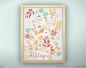"""Baby Print Botanical Garden and Little Friends - Unframed - 8.5 x 11"""""""