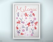 """Personalized Baby Art Print - Once Upon a Time - Unframed - 8.5 x 11"""""""