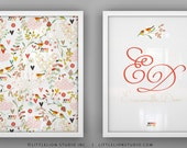 "Birds print set wall art custom name monogram print birds and floral garden wall art - Unframed 11 3/4  x 15 3/4"" - Spring Kimono"
