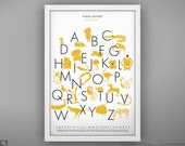 Animal Alphabet Poster - Unframed - 13 x 19""