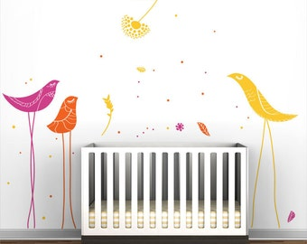 Carnival Birds Wall Decal - Yellow, pink, orange and other colors - Kids Wall Decor