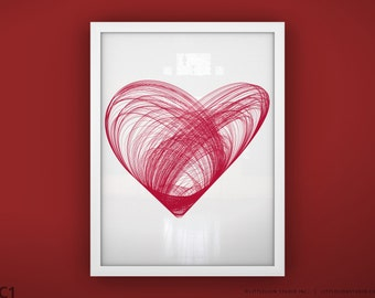 "Heart art print wall art - Unframed 11 3/4  x 15 3/4"" - Heart Print"