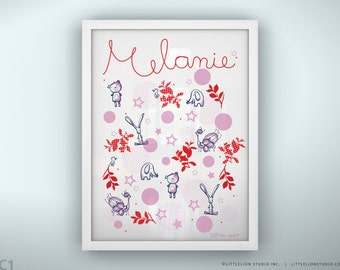 """Personalized baby art print  bear bunny and dots pink girl print - Unframed 11 3/4  x 15 3/4"""" - Once Upon a Time"""