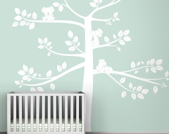 Kids wall decal white tree wall decal for babies room white decor - Monochromatic Koala Tree Extra Large