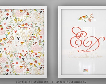 "Birds Print Set - Spring Kimono - Unframed - 8.5 x 11"""