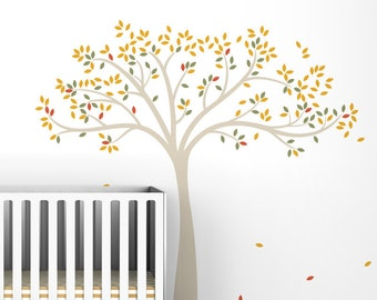 Fall Tree Extended Wall Decal - Yellow, Beige, Brown, Green, White Tree Decals