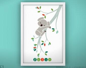 """Kids Nursery Wall Art - Sleepy Koala - Unframed - 13 x 19"""""""