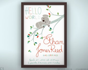 "Birth Announcement 8.5 x 11"" - Sleepy Koala - Unframed"
