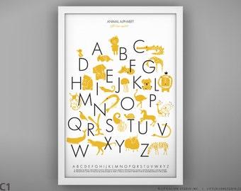 "Animal Alphabet Poster - Unframed - 13 x 19"""