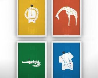 "Prints Kids Rooms - Royal Safari Print Set - 4 Unframed Prints - 13 x 19"""