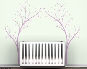 Lilac Twinkle Tree Gate Wall Decal - Tree Stars Decal
