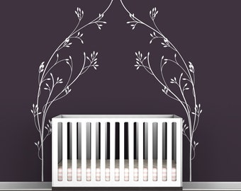 Vineyard Canopy Bed Headboard Wall Decal - Classic, elegant, modern baby room decor - White, brown, gold, silver