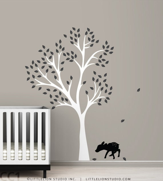 Fawn Tree Wall Decal - Black fawn - Black kids room - Classic Baby Decor - White, black and more colors