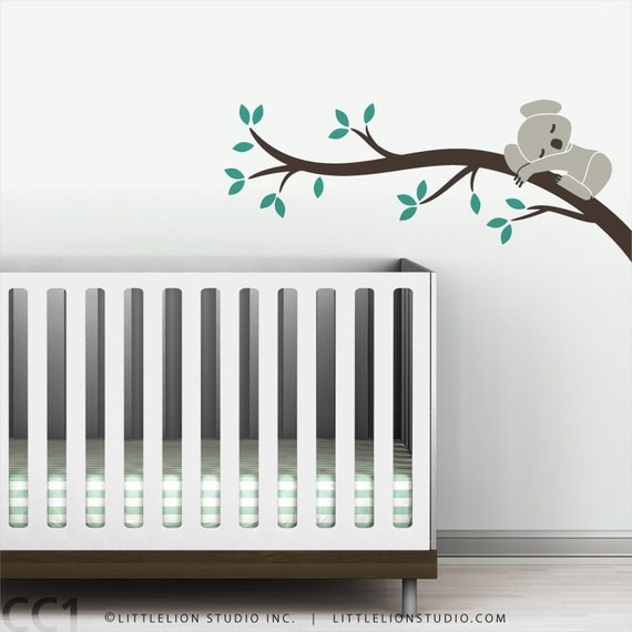 Kids baby nursery wall decal koala tree branch wall sticker decor for baby rooms - Koala Branch I