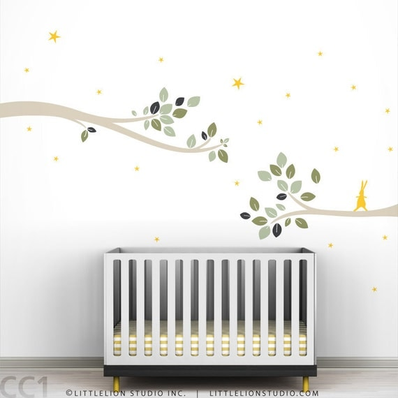 Follow the Little Rabbit Tree Branches Wall Decal - Neutral Colors - Tree Decal - Modern Kids Room