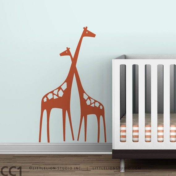 Baby Zoo Mom and Baby Girafffe - Small - Wall Decal by LittleLion Studio