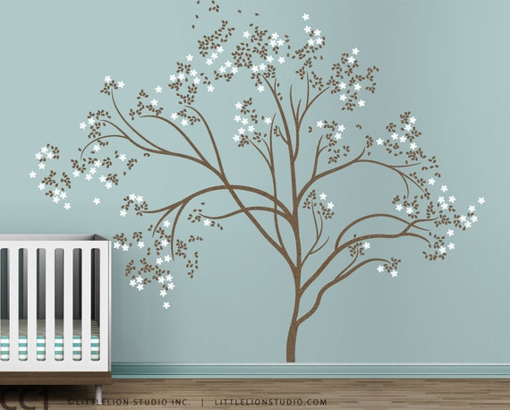 Blossom tree extra large wall decal japanese cherry blossom for Cherry blossom tree mural