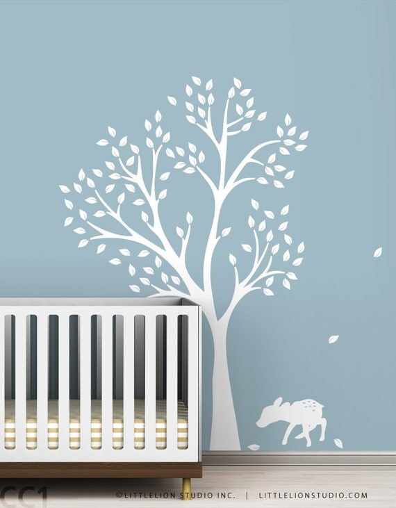 Monochromatic Fawn Tree Wall Decal - White Tree Decal - Classic Baby Room Decor