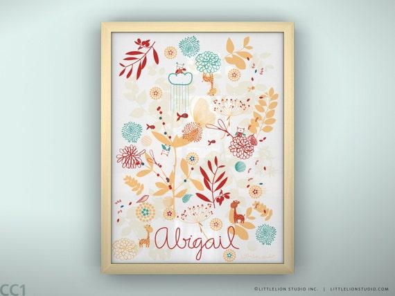 "Custom print baby name wall art for baby nursery wall decor gift print  - Unframed 11 3/4  x 15 3/4"" - Botanical Garden and Little Friends"