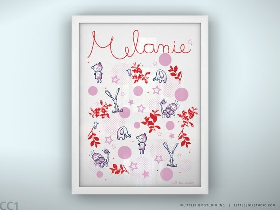 "Personalized baby art print  bear bunny and dots pink girl print - Unframed 11 3/4  x 15 3/4"" - Once Upon a Time"