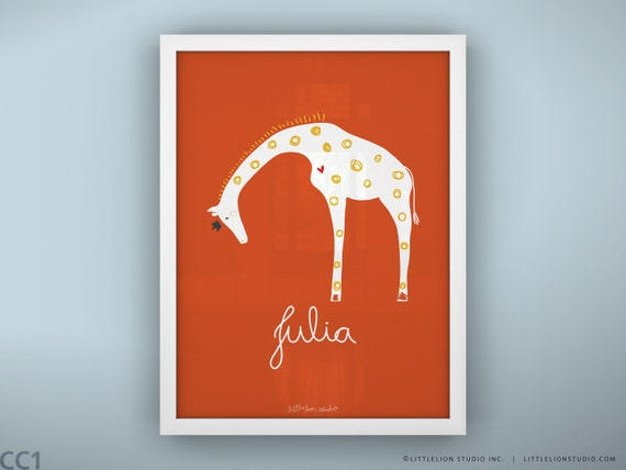 "Baby nursery decor print safari theme wall art custom name new baby gift art print  - Unframed 11 3/4  x 15 3/4"" - Queen Giraffe"