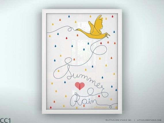 "Kids room art decor print wall art  custom baby name print  new baby print gift - Unframed 11 3/4  x 15 3/4"" -  Summer Rain"