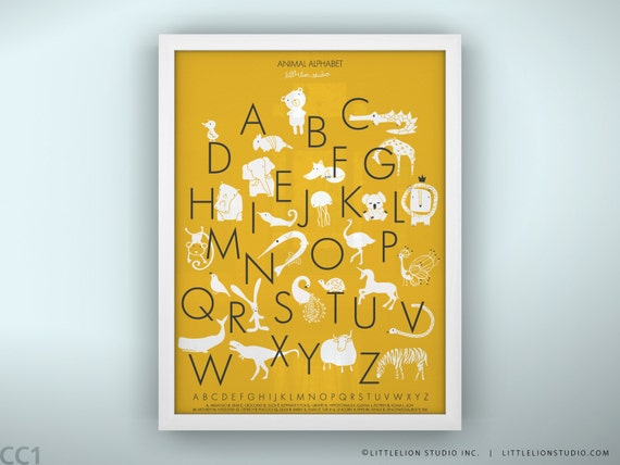 Animal Alphabet Poster - Color Punch - Unframed - 8.5 x 11""
