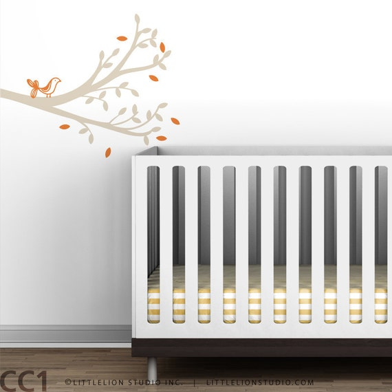 Tweet Branch Wall Decal - Cute baby decor - Simple Tree Decal - Orange, beige, white, green, brown, gray