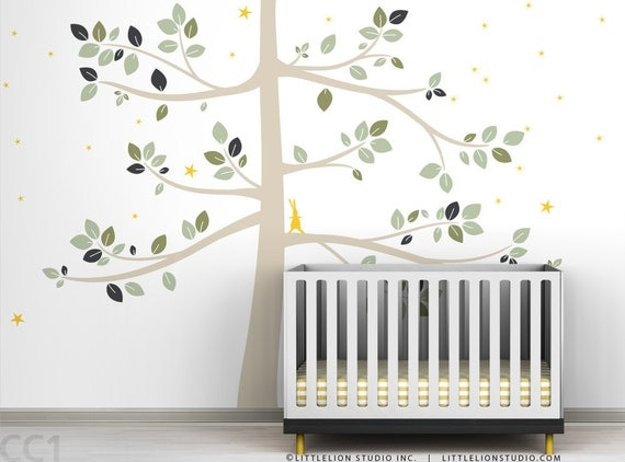 Follow the Little Rabbit Tree Extra Large Wall Decal - Neutral, natural colors - Gender neutral decor -Modern Kids