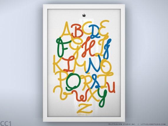 "Children's Alphabet Poster - Royal Safari Alphabet Poster - Unframed Print - 13 x 19"""