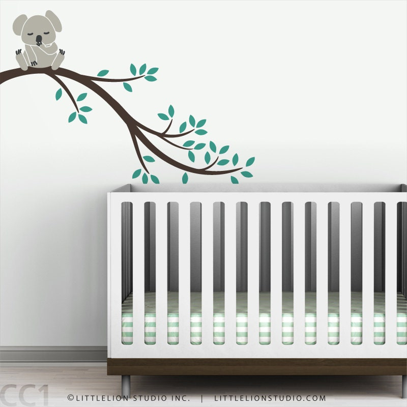 Kids wall decal baby koala bear tree branch wall sticker for - Stickers koala chambre bebe ...