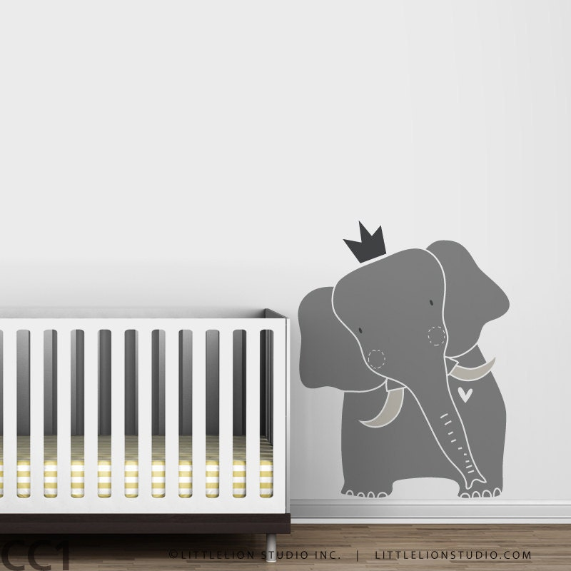 Baby zoo king elephant wall decal elephant decal nursery for Baby mural stickers