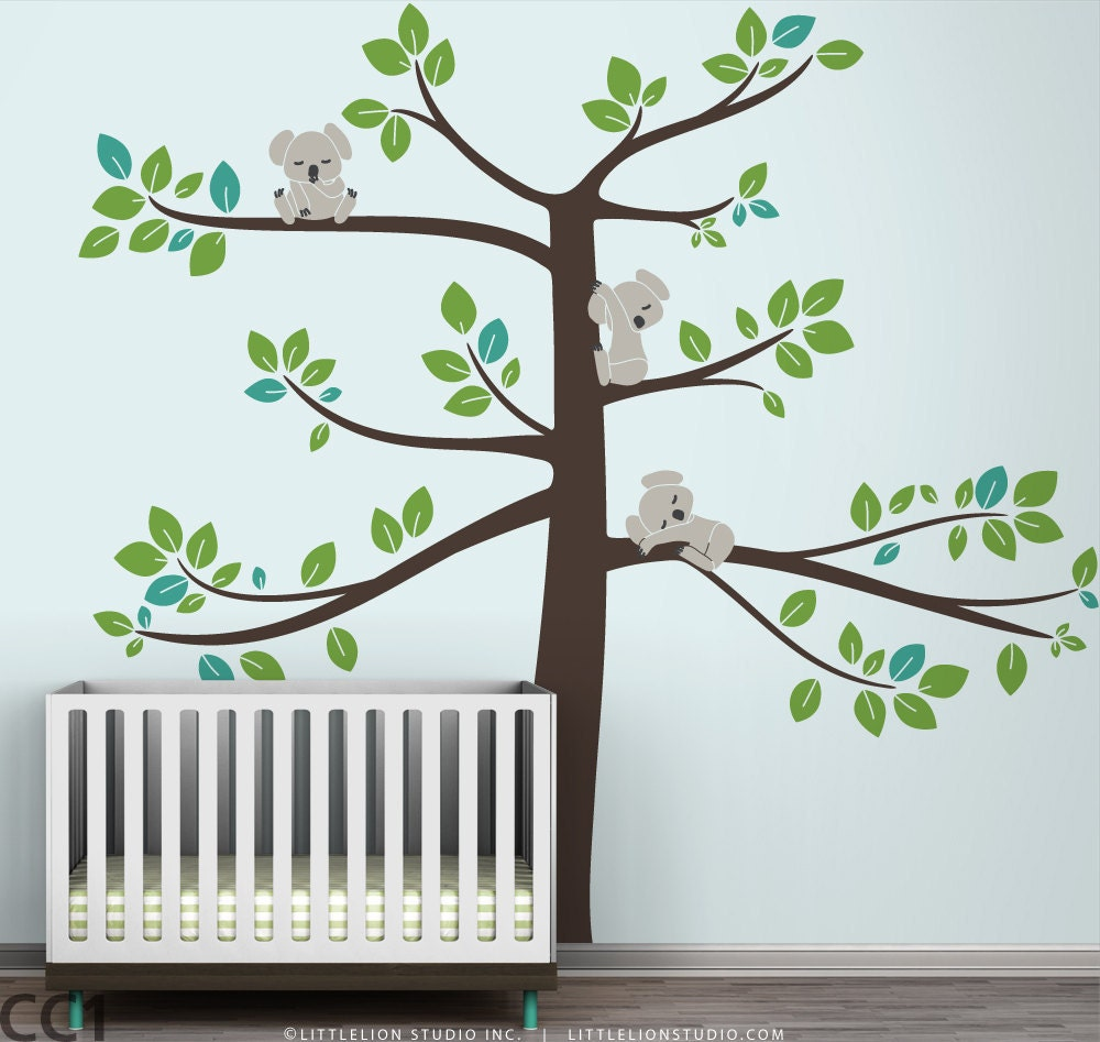 Kids wall decal koala tree baby room decor koalas large tree for Room decor etsy
