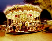 Carousel at night in Montpellier, France - Polaroid - Fine Art Photograph
