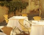 Restaurant tables in the yard, Avignon, Vaucluse, France - Polaroid - Fine Art Photograph