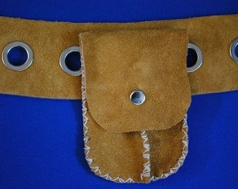 Small pouch suede belt