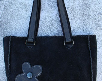 Suede large shoulder bag