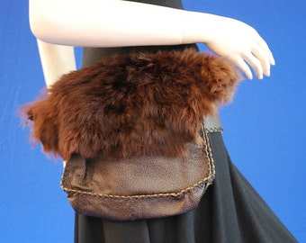 Two pouches belt with rabbit fur