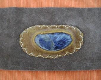 String Suede Belt with Blue Gemstone