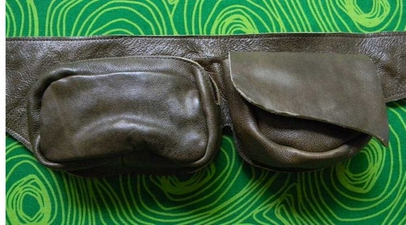 Travel leather pouch belt - Burning Man