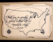 Wedding Welcome Box or Bag Sign - Custom vintage map  for any party or event.