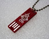 Robot USB Circuit Board  Necklace with Ball Chain - lights up