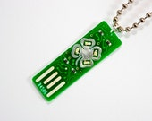 Four Leaf Clover USB Circuit Board Necklace with Ball Chain