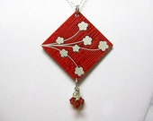 Circuit Board Silver Necklace with Cherry Blossoms and Heart - Reversible