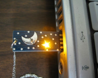 Moon and Stars USB Circuit Board with Silver Necklace (Blue) - Lights up