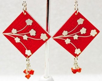 Circuit Board Earrings with Cherry Blossoms and Hearts