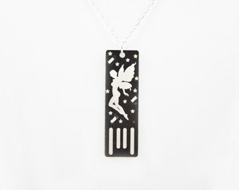 Fairy USB Circuit Board Necklace in Black with Silver Chain - Lights Up