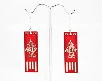 Robot USB Circuit Board Earrings