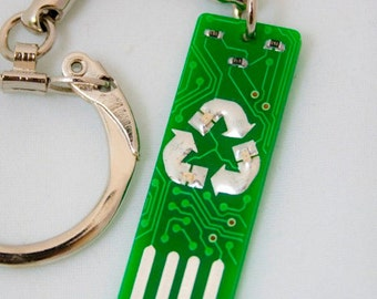 Recycle USB Circuit Board Keychain - Lights Up
