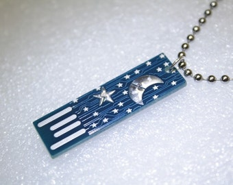 Moon & Stars USB Circuit Board with Ball and Chain necklace - lights up